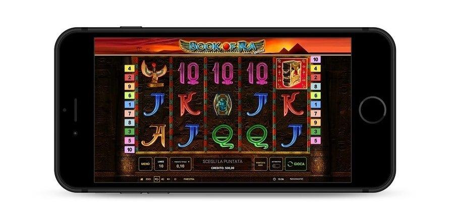 Foto che mostra il gioco Book of Ra deluxe dopo aver fatto il download per mobile.
