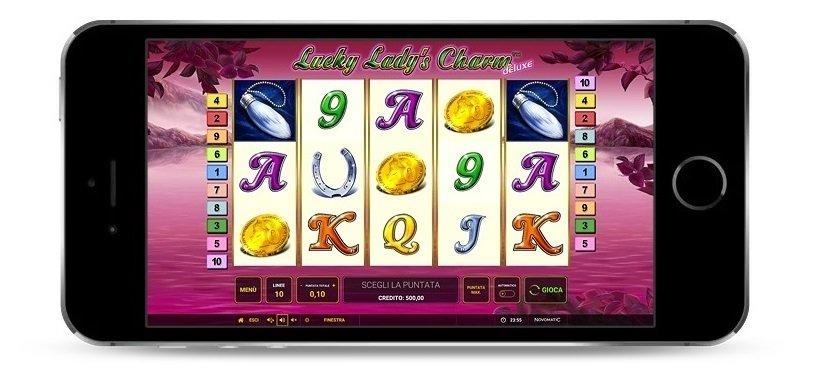 Ecco come giocare Lucky Lady Charm deluxe su mobile e senza download, con una immagine del gioco dal telefonino.