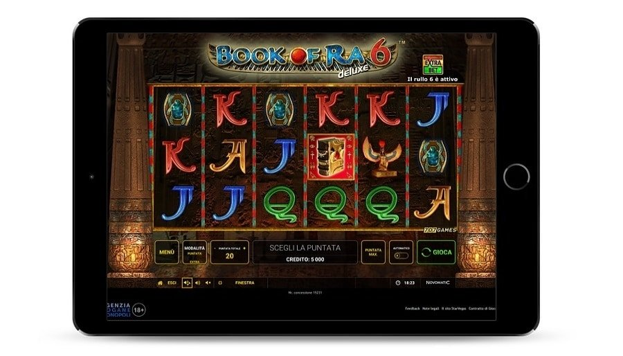 Screenshot del gioco di Book of Ra magic, con alcuni simboli colorati.
