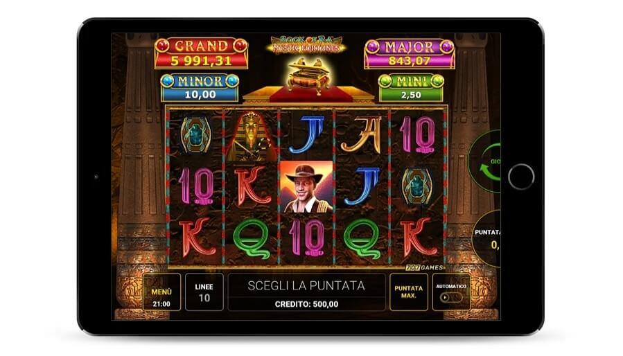 Ecco una Schermata di gioco Book of Ra jackpot in versione demo.
