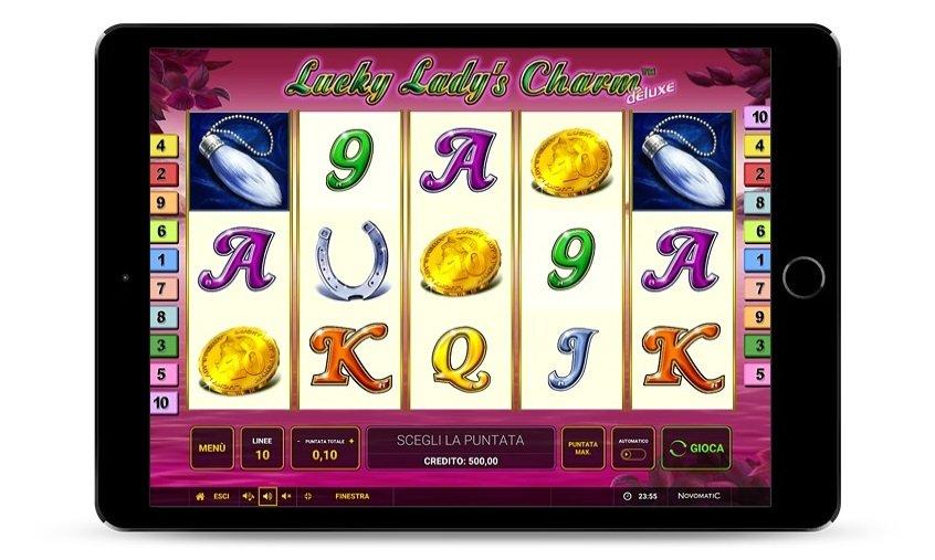 Una schermata di gioco di Lucky Lady's Charm deluxe