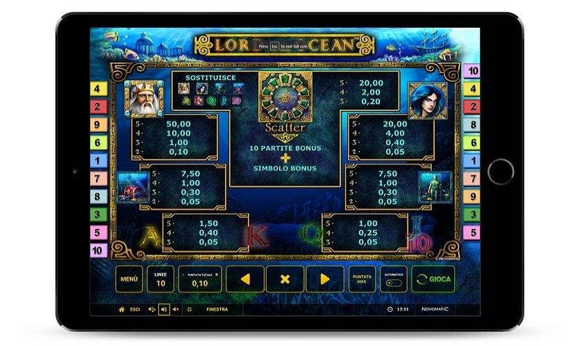 Simboli di pagamento Lord of the Ocean, schermata originale.