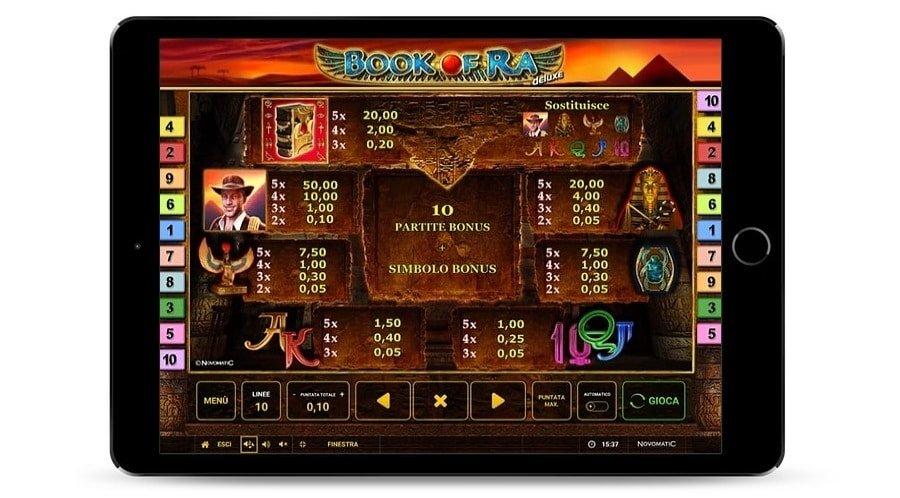 Foto che rappresenta la tabella di pagamento del gioco Book of Ra deluxe di Novomatic.