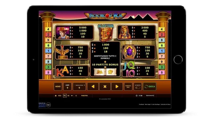 Tabella dei pagamenti del gioco Book of Ra classica, con tutti i simboli colorati in vista.