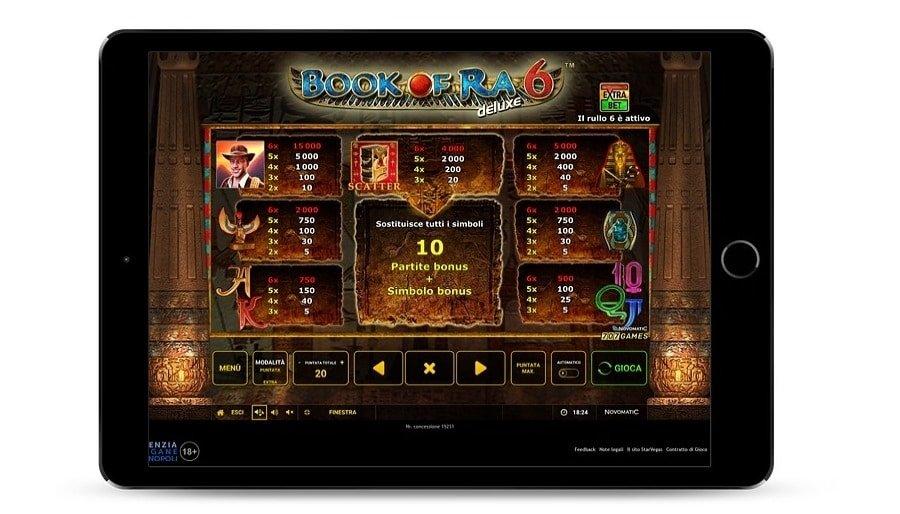 Schermata che mostra i simboli del pagamento del gioco Book of Ra deluxe 6 di Greentube.