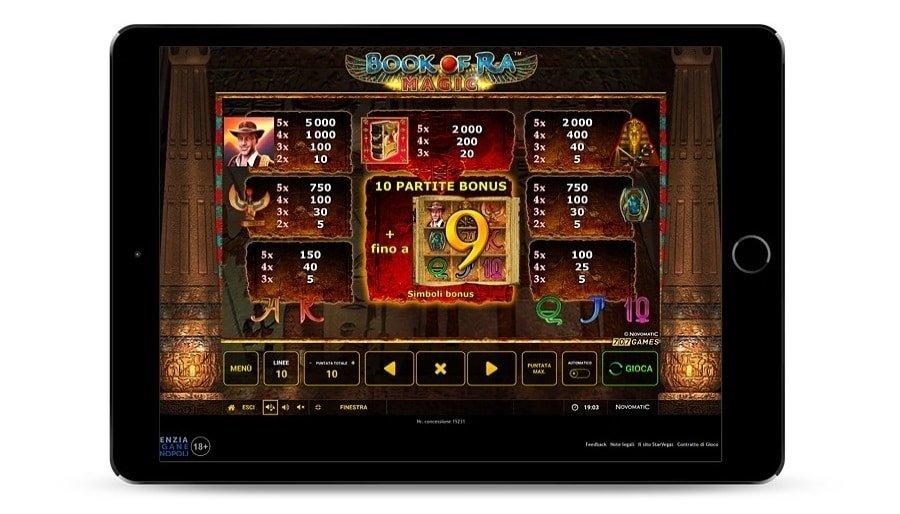 Screenshot che rappresenta la tabella di pagamento del gioco Book of Ra magic di Novomatic.