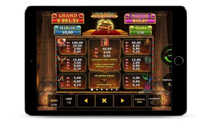 In questa schermata si intravede la Tabella di pagamento Book of Ra mystic fortunes con denaro reale.